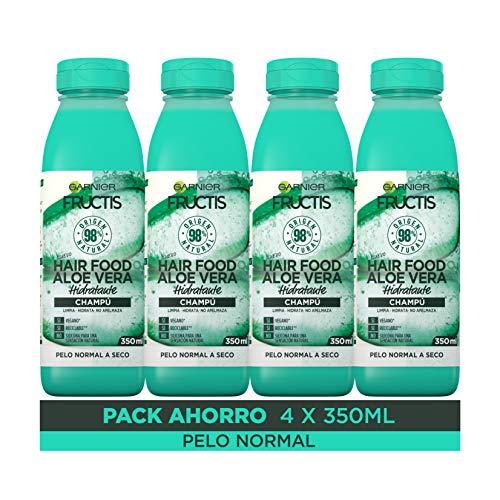 Garnier Fructis Hair Food Champú Aloe Vera Hidratante,  indicado para Pelo Normal a Seco -  Pack de 4 x 350 ml
