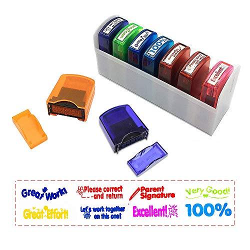 123 Life - Sellos de goma autoentintados, coloridos, motivación y reconocimiento, evaluación escolar, sellos para el profesorado, (8 unidades)