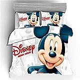 SSLLC Disney Mickey Minnie Mouse - Juego de cama con funda de edredón de microfibra y fundas de almohada, diseño de dibujos animados en 3D, 200 x 200 cm