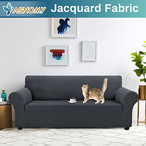 Asnomy Couch Covers for 3 Cushion Couch Waterproof Stretch Sofa Covers Slipcovers, Pet Protector Furniture Covers for Dogs Cats Spandex Jacquard Fabric Small Checks (Large,Charcoal Ash)