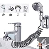Washbasin Faucet External Shower Set Double Control Switch Bathroom Washbasin Sink Hose Sprayer Hair Washing Handheld Shower with Retractable Hose and Bracket