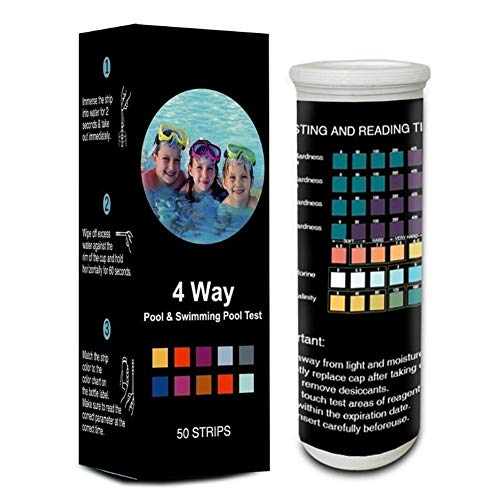 Nologo 50pcs Piscina Water Test Strips 4en1 Prueba de Calidad de la dureza del Agua PH Cl Alq