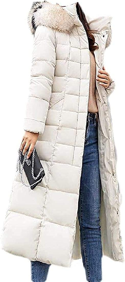 Womens Quilted Casual Hooded Pockets Long Faux Fur Collar Slim Fit Down Jacket