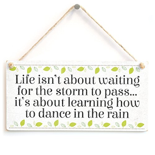 meijiafei Life isn 't about waiting for the Storm To Pass... it 's About Learning How To Dance in the Rain – Schöne Inspirierende Home Zubehör Neuheit Geschenk Schild 25,4 x 12,7 cm