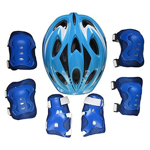Poxl Kinder Sport Schutzausrüstung Protektoren Set, 7Pcs Schutzausrüstung mit Helm, Knieschoner Ellenbogenschoner Handgelenkschutz für 5-13 Jährige Kinder