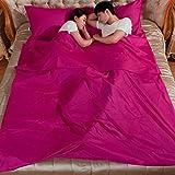 Durable y hoja de Super suave viaje/saco de dormir/saco de dormir Liner con bolsillos funda de almohada para cama de camping bolsa, Red-Double
