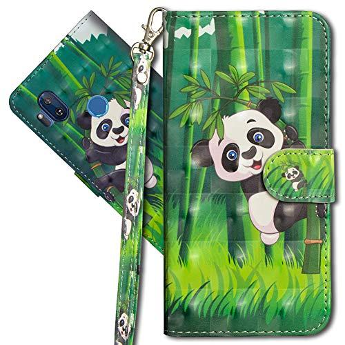 MRSTER Motorola One Hyper Handytasche, Leder Schutzhülle Brieftasche Hülle Flip Hülle 3D Muster Cover mit Kartenfach Magnet Tasche Handyhüllen für Motorola Moto One Hyper. YX 3D Panda Bamboo