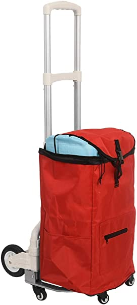 Sundale Outdoor Folding Hand Truck W Wheels Hook And Bag Durable Utility Cart Retractable Portable Grocery Cart For Luggage Shopping Office Use Heavy Duty Aluminum Frame 155 Pound Capacity Red