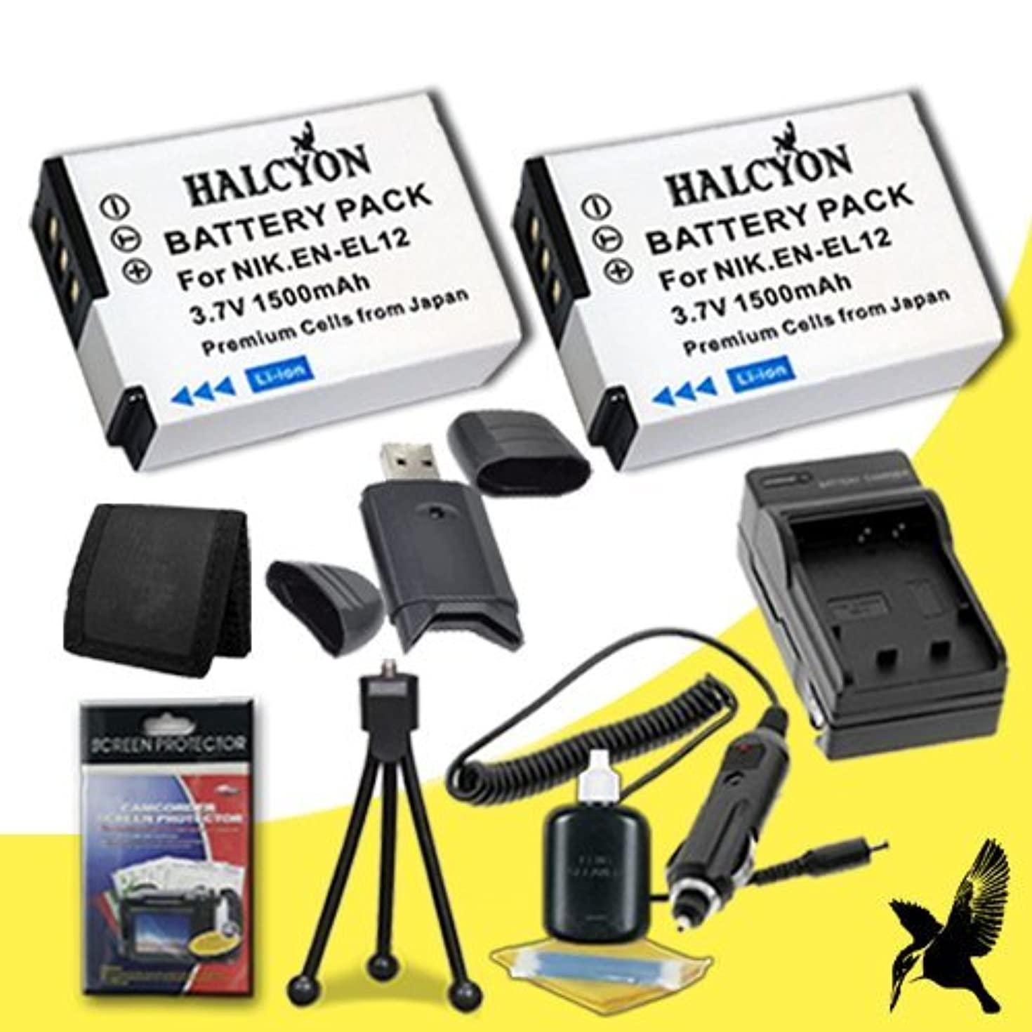 Two Halcyon 1500 mAH Lithium Ion Replacement EN-EL12 Battery and Charger Kit + Memory Card Wallet + SDHC Card USB Reader + Deluxe Starter Kit for Nikon Coolpix S800c, AW100, AW100s, P300, P310, S70, S630, S640, S1000pj, S1100pj, S1200pj, S6000, S6100, S6150, S6200, S6300, S8000, S8100, S8200, S9100, S9300 Digital Cameras and Nikon EN-EL12