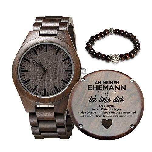Gravierte hölzerne Uhr für Sohn und Freund, personalisierte hölzerne Uhr Geschenk für Freund, Abitur Geschenk von Mama, von Papa (An Meinen Ehemann)