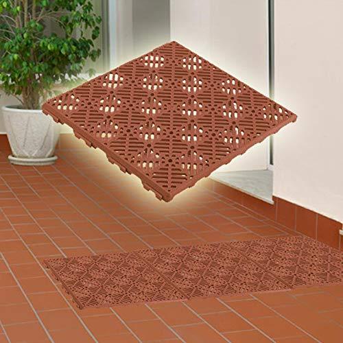 Pack 12 losetas antihumedad para suelos de terrazas (30x30cm) - Color Terracota: Amazon.es: Bricolaje y herramientas