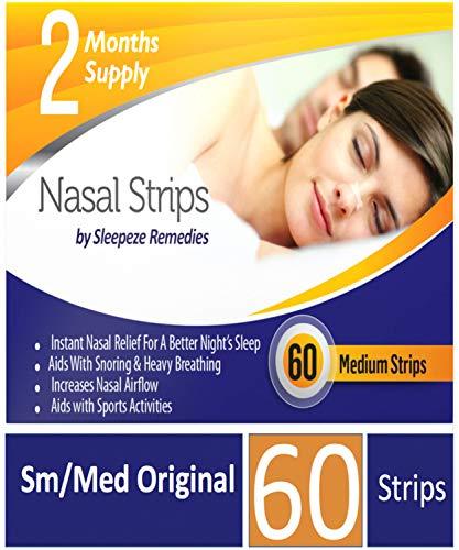 Näsremsor Medium (x 60 Pack) Näsremsor för att stoppa snarkningar, snarkremsor som hjälper dig att andas genom näsan, Anti Snarkning Näsremsor för snarkningar av Sleepeze Remedies