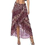 ForeMode Women Boho Print High Waist Side Wrap Split Ruffled Asymmetric Hem Maxi Long Skirt (WineRed)