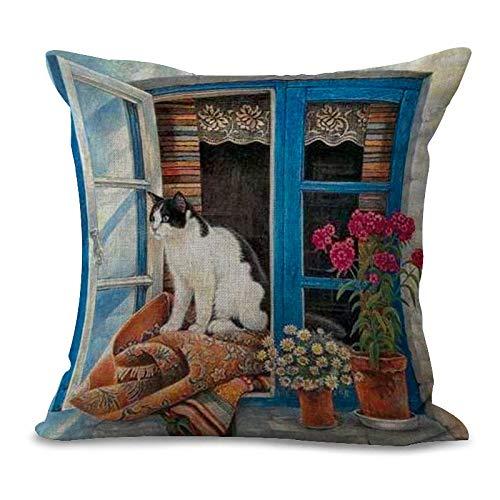Ogquaton - Funda de cojín cuadrada, diseño de gato, diseño de gato, decoración para coche, sin relleno, 9 estilos, muy práctico y popular