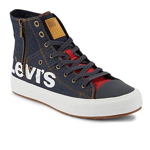 Levi's Mens Zip Ex Casual Mid-Top Fashion Zipper Sneaker Shoe, Navy, 13 M