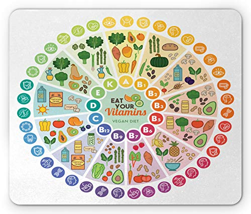 Ambesonne Vegan Mouse Pad, Vitamin Vegan Food Sources and Functions Rainbow Wheel Chart with Healthcare, Rectangle Non-Slip Rubber Mousepad, Standard Size, Green Pink