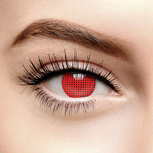 Chromaview Halloween Farbige Kontaktlinsen Ohne Stärke Raster Rot (90 Tage)