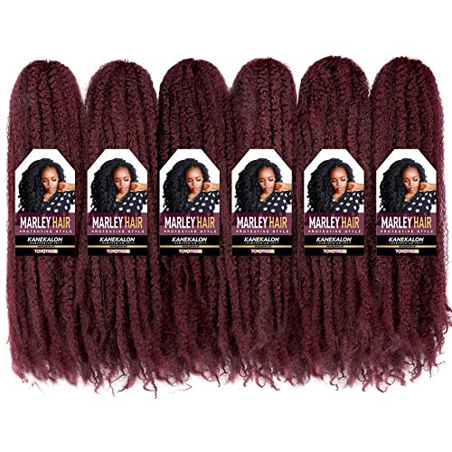 """Toyo Tress Marley Hair For Twists 18 Inch 6packs Long Afro Marley Braid Hair Synthetic Fiber Marley Braiding Hair Extensions (18"""",99J)"""