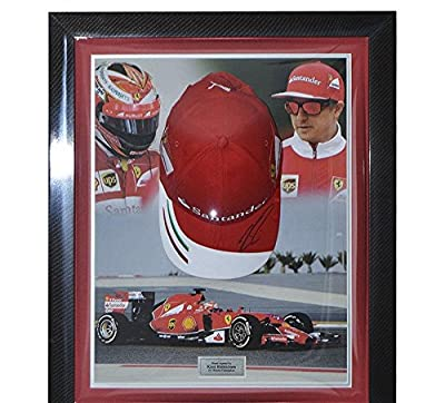 Signed Kimi Raikkonen Ferrari Framed Cap - Formula 1 - Autographed NASCAR Miscellaneous Items