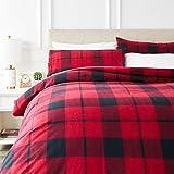 Amazon Basics - Juego de cama de franela con funda nrdica - 200 x 200 cm/50 x 80 cm x 2, Tartn rojo