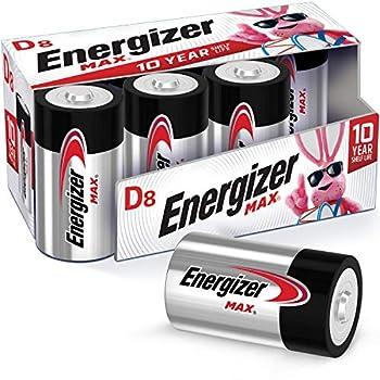 Energizer Max D Batteries Premium Alkaline D Cell Batteries  8 Battery Count
