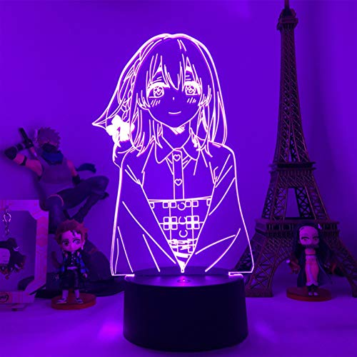 ZGJ 3D Optical Illusion Night Light Anime Rent a Girlfriend Sakurasawa Sumi Figure Model 3D Lamp Bedroom Decoration DIY Birthday Gifts (Emitting Color : 16 Color with Remote)