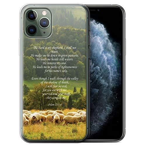 Hülle Für Apple iPhone 11 Pro Christliche Bibel Vers Lord Shepherd/Psalm Design Transparent Dünn Weich Silikon Gel/TPU Schutz Handyhülle Case