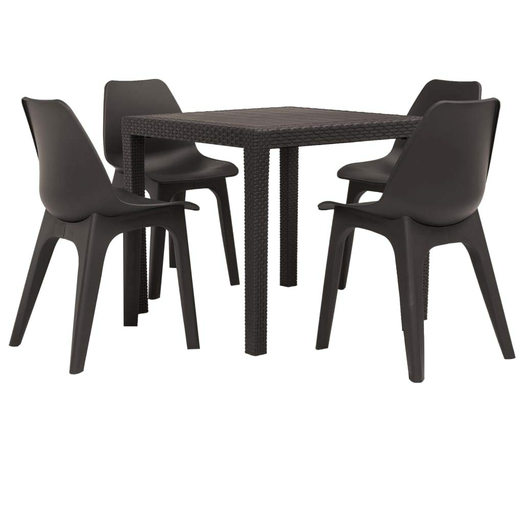 Tidyard 5 Piezas Conjunto de Comedor de jardín plástico Muebles Jardin Exterior, Marrón,1 Mesa y 4 sillas: Amazon.es: Hogar