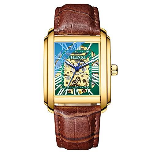 Shmtfa Relojes Cuadrados para Hombre Relojes Pulsera MecáNicos AutomáTicos con Cuerda Elfa 3ATM CronóGrafo Luminoso Impermeable con Correa Cuero para Hombres DecoracióN Informal(Dorado + Verde