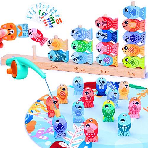 LUKAT Magnetische Angeln Spielzeug für 2 3 4 5 6 Jahre Mädchen Jungen, 2 in 1 Hölzernes Angelspiel für Kinder Tischspiele Alphabet Fischfang Zählen Toy, frühes Mathe Lernspielzeug Geschenk für Kinder