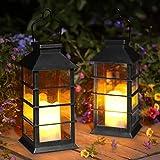 2 Pack Lanterna Solare Esterno Lampada da Giardino IP44 impermeabile Vintage Lanterne Decorativo Plastica Senza Fiamma LED Luci per Patio Cortile Feste (Nero) [Classe di efficienza energetica A+]