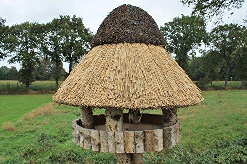 Vogelvilla Masuren, Vogelhaus, Futterhaus, Reetdach mit Ständer, Birke 85x195cm - 3