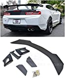 Replacement For 2016-Present Chevrolet Camaro ALL Models | ZL1 1LE Style ABS Plastic PRIMER BLACK Rear Trunk Lid High Wing Spoiler