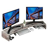 J JACKCUBE DESIGN Rustic Wood Dual Monitor Stand with Adjustable Angle Riser 2 Monitors Office Desk Organizer Computer Table top Screen Shelf for PC TV Laptop - MK547A