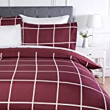 AmazonBasics - Set copripiumino in microfibra, 135 x 200 cm, Motivo a scacchi bordeaux (Burgundy Simple Plaid)