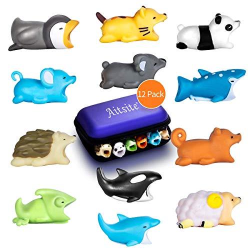 Aitsite Cable Bite Cable Cord per iPhone (12-Pacco, Hedgehog + Panda + Chameleon + Cat + Squalo Balena + Delfino + Balena assassina + Pinguino + Koala + Scoiattolo + Pecora + Mouse)