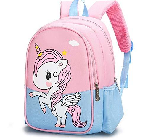 School Backpack Children's School Bag Fashion Dinosaur Simple Zipper Backpack Nylon Waterproof Travel Bag Soft Student Bag-Pink