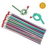 Locisne Paquete de 35 lápices flexibles flexibles Bendy, lápices Magic Bend para la diversión escolar de los niños, aulas, premios, regalos para fiestas
