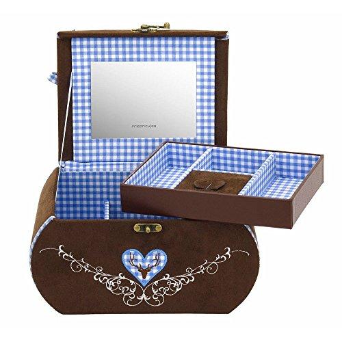 Friedrich|23 Coffret à Bijoux Femme en Velour Marron/Bleu, 630 Grammes