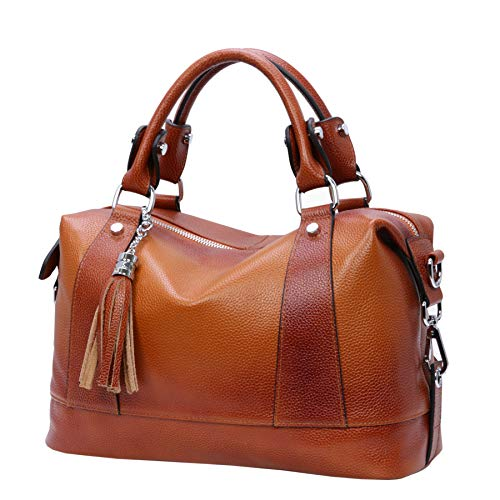 Heshe Leather Shoulder Bag Womens Tote Top Handle Handbags Cross Body Bags for Office Lady (Sorrel)