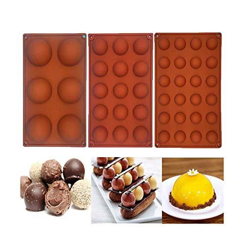 Voberry New DIY Silikon Backform, 3 Stck Kleine Halbkugel Silikonform, Backform Backwerkzeug für Ihre Schokoladendesserts, Eisbomben, Mini Teacake, Fondant, Bonbons, Tablett, Kekse, Jello