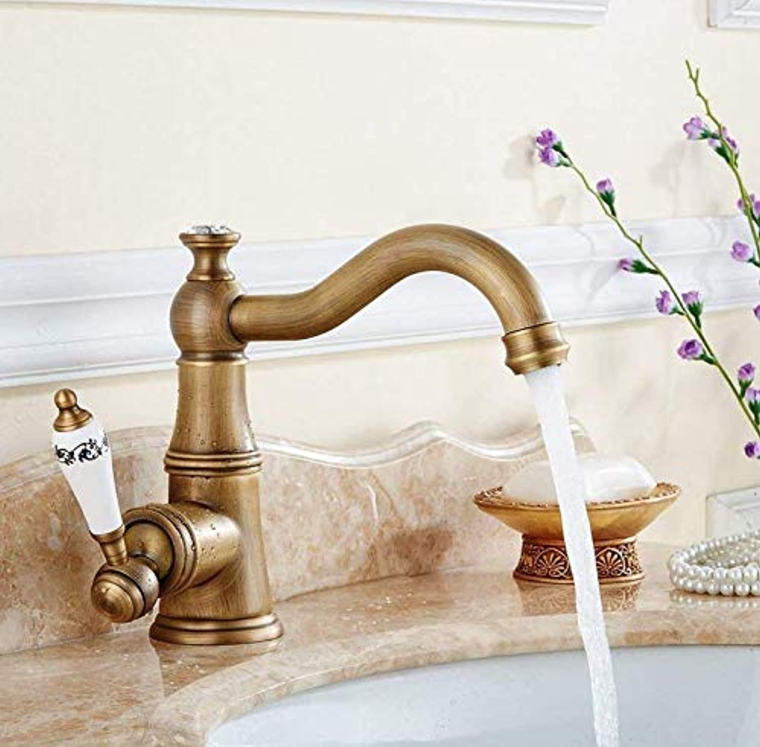 Kitchen Fauct Kitchen Tap Solid Brass Bathroom Kitchen Sink Basin Mixer Tap Hot and Cold Faucet Mixer Taps 360 Degree redation Sink Faucet (color   -, Size   -)