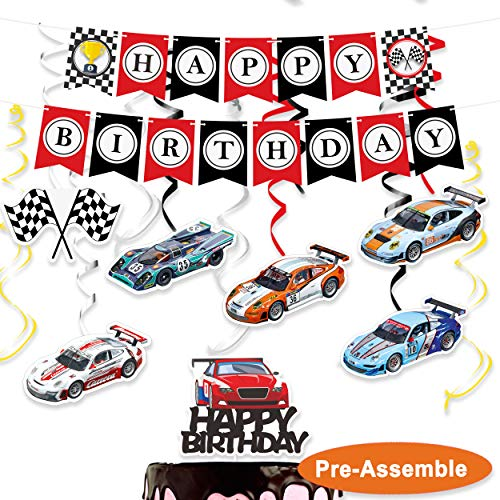 wongmode Racing Car Birthday Decorations Set - Happy Birthday Theme Swirls Streamers Garland Banner and Cake Topper Party Supplies