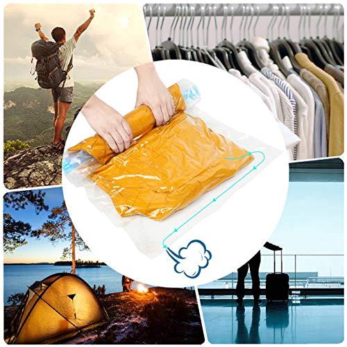 Eqosun® Reise Vakuumbeutel [8 Stück] Rollen-Komprimieren-Fertig |3 Größen| Wiederverwendbare Aufbewahrungsbeutel ohne Pumpe für Dienstreise, Camping, Backpacking