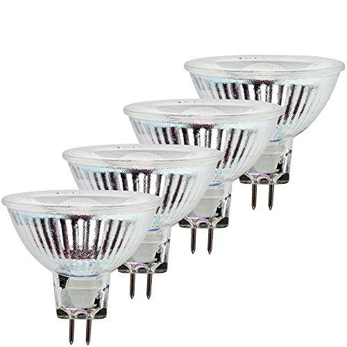 MÜLLER-LICHT 4er SET Retro-LED Reflektorlampe, Glas, GU5.3, 6 W, Silber, 5 x 5 x 4.6 cm, 4 Einheiten