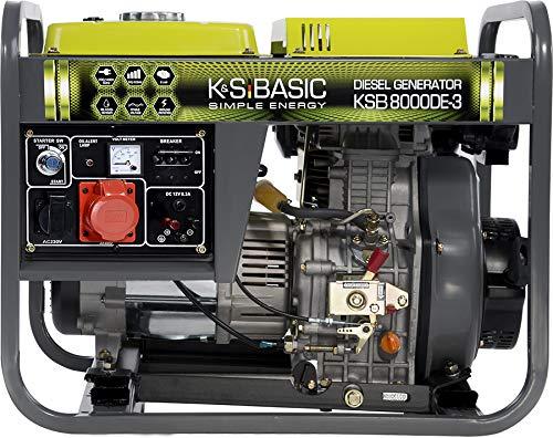 Könner & Söhnen KSB 8000DE-3 Stromerzeuger, 11,0 PS 4-Takt Dieselmotor, Automatischer Spannungsregler (AVR), 6500 Watt, 16A, 400V/230V Drehstromgenerator, für Haus, Garage oder Werkstatt