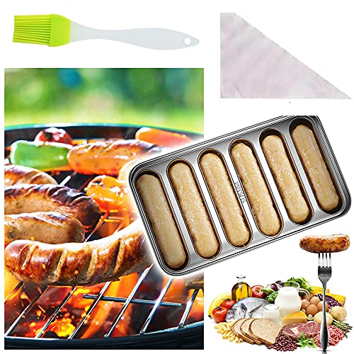 Hot Dog Mold Stainless Steel , 6-Cavity Hot Dog Bun Pan Non-Stick Hotdog-Shaped Bread Cake and Meat Bakeware Hot Dog Pan for Kitchen Baking
