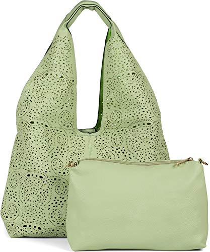 styleBREAKER Damen Beutel Handtaschen Set mit gestanztem Paisley Lasercut Muster, 2 Taschen, Schultertasche, Shopper 02012340, Farbe:Mint
