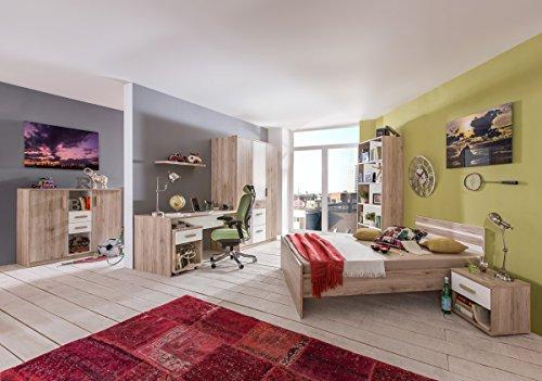 Dreams4Home Jugendzimmer 'Riba' - Bett B/H/T:140x60x210cm,Kommode B/H/T:124x105x41cm,Kleiderschrank B/H/T:135x199x58cm,Regal B/H/T:90x198x38cm,NaKo:B/H/T:46x38x40cm,Schreibtisch B/H/T:140x72x34cm, in San Remo Eiche NB+Alpinweiß
