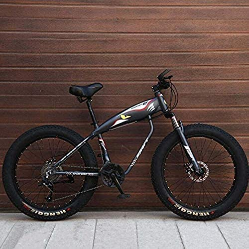 HongLianRiven BMX Bicicleta de montaña for Adultos, Fat Tire Bike Rígidas MBT, de Alto Carbono Marco de Acero, Doble Freno de Disco, 26 Pulgadas Ruedas 5-25 (Color : Grey, Size : 24 Speed)